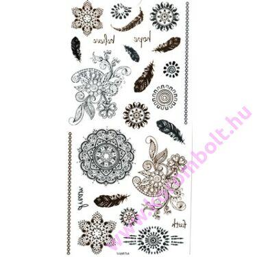 Arany-ezüst-fekete Henna tetováló matrica 10*17cm