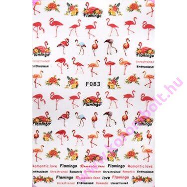 Körömmatrica műköröm, géllakk öntapadós körömdísz, flamingó