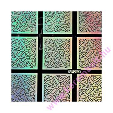Körömdíszítő sablon, öntapadós köröm stencil, rombusz minta