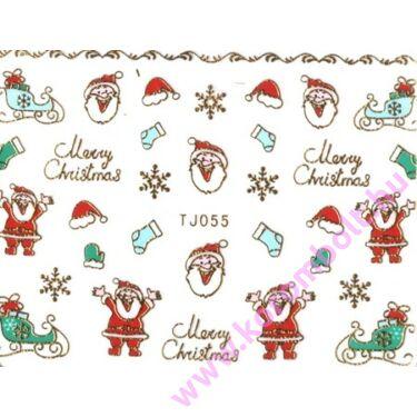 Karácsonyi arany mikulás matrica, Merry Christmas nail sticker
