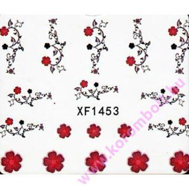 Akril hatású körömmatrica, fekete indák, rózsák minta, nail sticker
