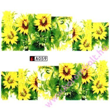 Akril hatású körömdíszítő teli körömmatrica,virágmintás