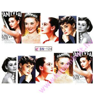 ÚJ*Akril hatású körömdíszítő matrica, filmsztár Audrey Hepburn mintás