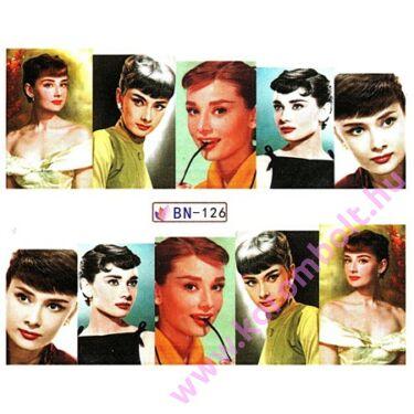 Akril hatású körömdíszítő matrica, filmsztár Audrey Hepburn mintás, utolsó darab féláron!