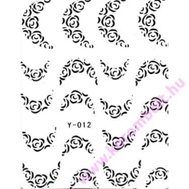 Akril és fémhatású matrica, ezüst színű rózsás francia körömmintás, silver rose sticker, utolsó darab féláron!