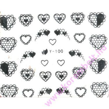 Akril és fémhatású, ezüst színű szív mintás körömdísz, silver heart sticker