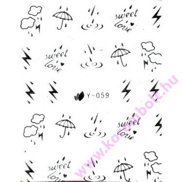 Akril és fémhatású matrica, ezüst színű esernyő tavaszi mintás körömdísz