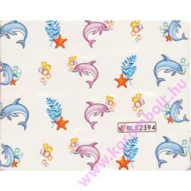 Akril hatású körmösmatrica, rózsakvarc, babakék delfinek, nail sticker