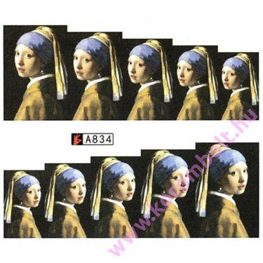 ÚJ* Akril hatású körömmatrica, festmény reprodukció minta, nail sticker