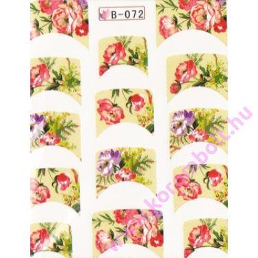 Akril hatású francia körömmatrica, virág minta, kocka forma, nail sticker
