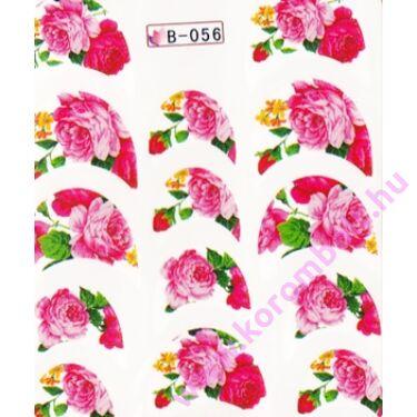 Akril hatású francia körömmatrica, virág minta, mandula forma, nail sticker