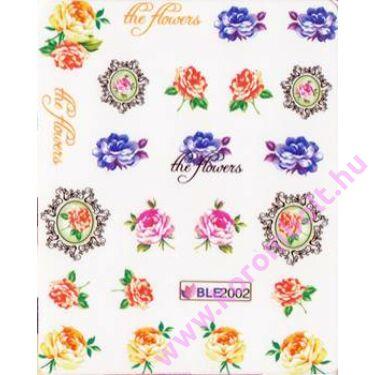 Akril hatású körömmatrica, ékszer matrica, virág minta, nail sticker