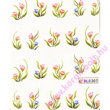 Akril hatású körömdíszítő körömmatrica,virágmintás,műköröm,gél lakk