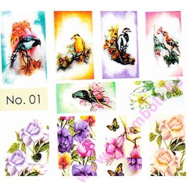 Akril hatású körömmmatrica Norka díszítő stílusában, énekes madarak minta, nail art sticker by Norka
