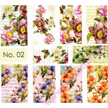 Akril hatású körömmatrica Norka díszítő stílusában, akvarell virágok minta, nail art sticker by Norka