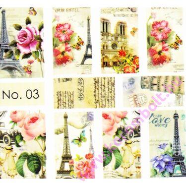 Akril hatású körömmatrica Norka díszítő stílusában, Párizs, virágok minta, nail art sticker by Norka