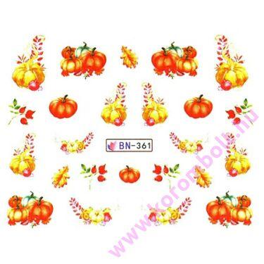 ÚJ* Akril hatású köröm díszítő matrica, őszi halloween tök mintákkal