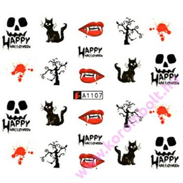 Akril hatású körmösmatrica, vámpíros, Happy Halloween