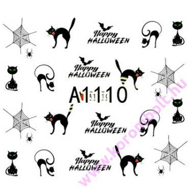 ÚJ* Akril hatású köröm díszítő matrica, macskás,pókos, Happy Halloween