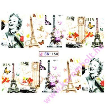 ÚJ* Akril hatású körömmatrica, Párizs, London körömminta, nail sticker