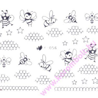Akril és fémhatású, ezüst méz és méhecske minta, Silver Bee