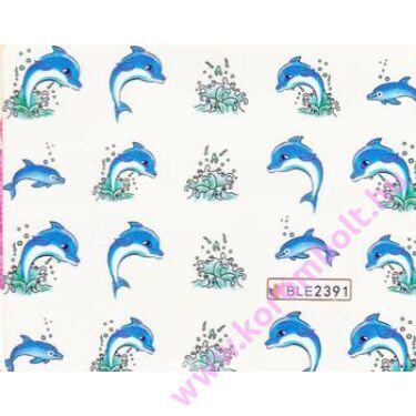 Nyári akril hatású körömmatrica, kék delfin, blue dolphin nail sticker