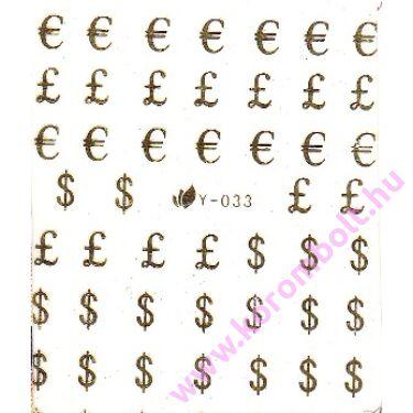 Akril és fémhatású körmös dollár matrica, sticker