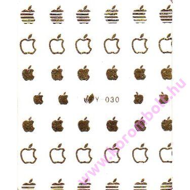 Akril és fémhatású, arany színű alma mintás körömdísz, matrica, gold apple sticker