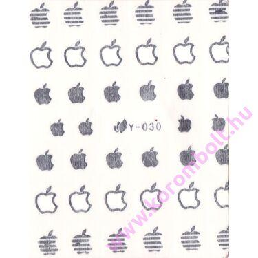 Akril és fémhatású, ezüst színű alma mintás körömdísz, matrica, silver apple sticker