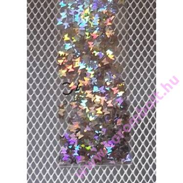 Nailfetti, ezüst színű, hologramos, pillangó forma lemezdísz,köröm minta