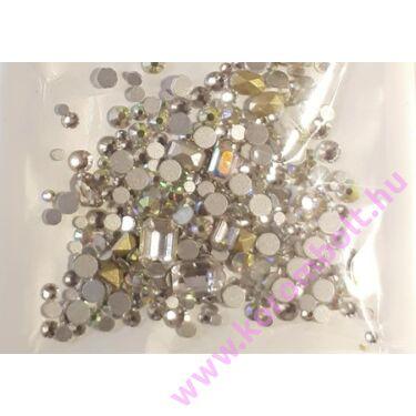 CrystalAB MIX ezüst színű strasszkő, SS05-16-ig vegyesen, kör négyzet, téglalap, ovál mix -  (212db)