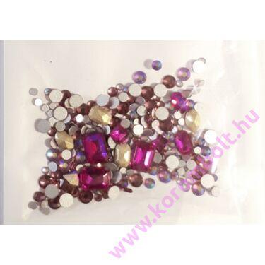Fuchsia MIX rózsaszín színű  strasszkő, SS05-16-ig vegyesen, kör négyzet, téglalap, ovál mix -  (212db)