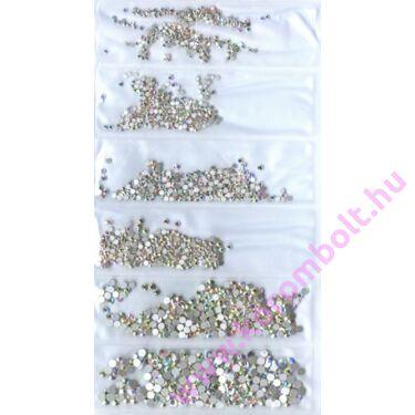 6in1 CrystalAB ezüst színjátszó kristály strasszkő(~1700db),köröm kő,kristály strasszkövek